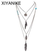 New Brand Fashion Boho Antique Silver Multilayer Feathers Bijoux Charm Necklaces Beads Maxi Necklace Jewelry N60