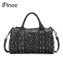 iPinee Top Fashion Genuine Leather Handbag Women Messenger Bags Famous Brand Patchwork Luxury Skull Bag(China)