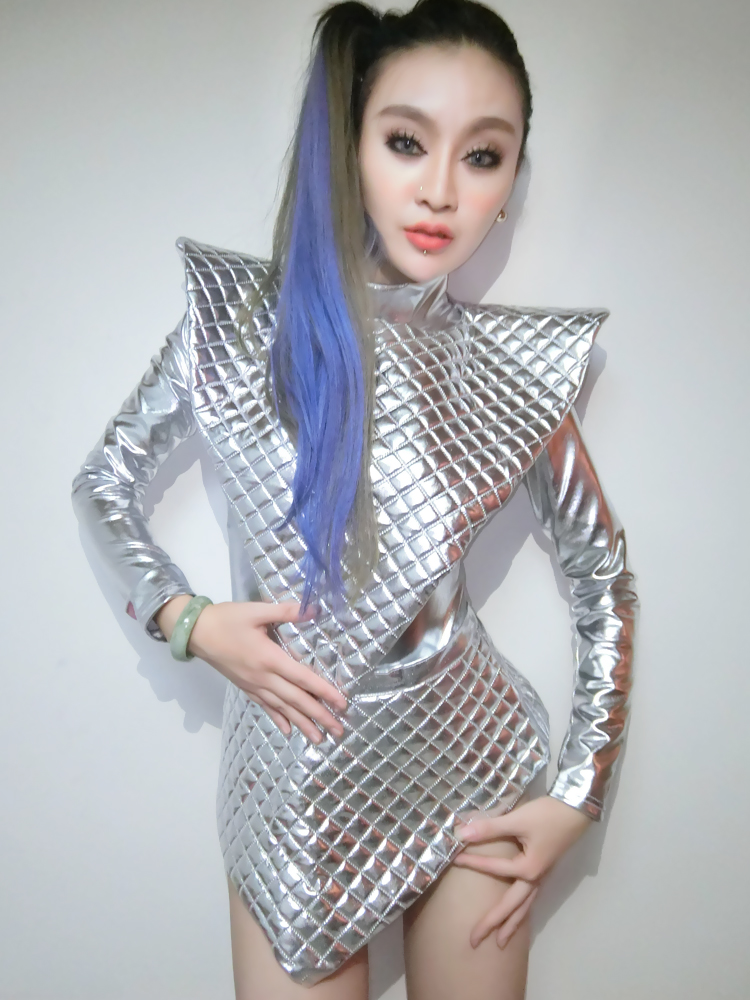Female Jumpsuits Nightclub Singer Sets DJ Dance Costumes DS Costume Reflective Silver Shiny Piece Suit Clothing Photography Jazz