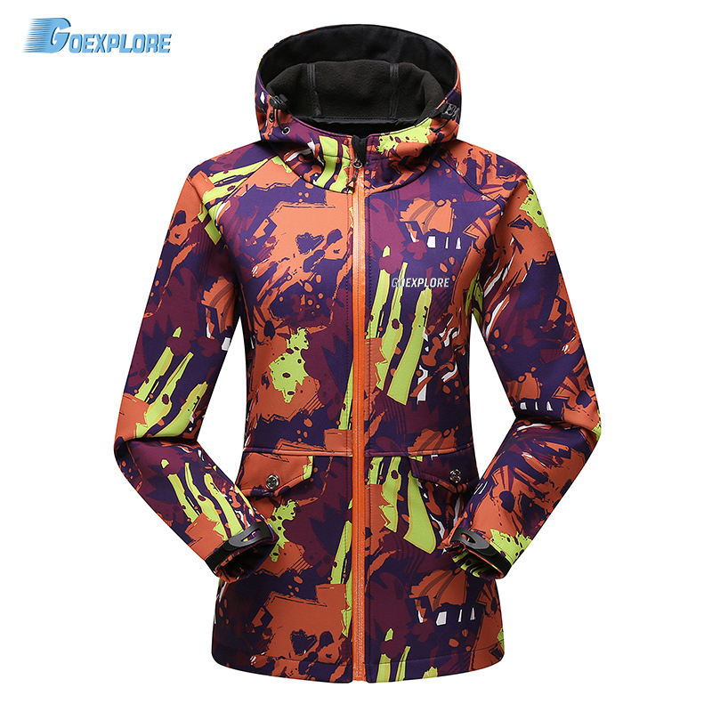 Goexplore Outdoor sports Camouflage jacket spring autumn camping waterproof Travel Hiking camping soft shell jacket for women<br>