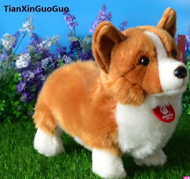 about 30cm cartoon standing welsh corgi dog plush toy soft doll throw pillow birthday gift w2225<br>