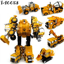 5 in 1 Devastator Toys Metal Alloy Deformation Robot Car Engineering Vehicle Truck Action Figures Classic Toys Kids Gift