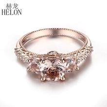 HELON Solid 14k Rose Gold 6mm Round Cut Morganite VS Full Cut Natural Diamond Engagement Wedding Women's Gemstones Jewelry Ring