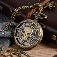 Vintage Bronze Steampunk Quartz Pocket Watch Hollow Carribean Pirate Skull Head Horror with Chain for Men Women Pendant necklace