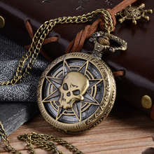 Vintage Bronze Steampunk Quartz Pocket Watch Hollow Carribean Pirate Skull Head Horror with Chain for Men Women Pendant necklace(China)
