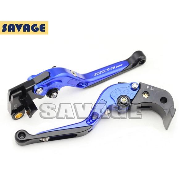 For SUZUKI GSX-S 1000 GSX-S 1000F 2015-2016 Blue Motorcycle CNC Folding Extendable Brake Clutch Levers Logo GSX-S1000<br><br>Aliexpress