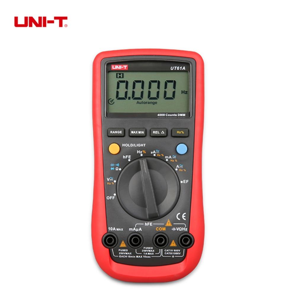 UNI-T UT61A Modern DMM Digital Multimeters Transistor NCN Tester Meter Volt Ohm Frq CD Backlight &amp; Data Hold Ammeter Multitester<br><br>Aliexpress