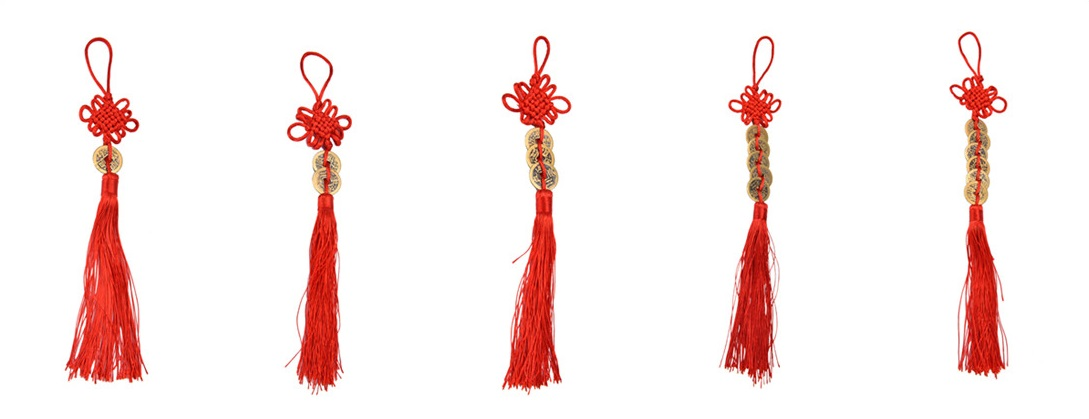 1pc Vintage Red Chinese Knot Feng Shui Copper Coins 1/2/3/5/6 Coins Wealth Success Lucky Charm Home Car Hanger Decor