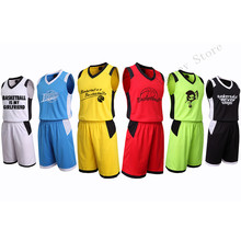 Adsmoney Solid Men Basketball Jerseys Set Training Team Tracksuit Breathable Soft Fabric Sports Jersey Custom Wholesale price(China)