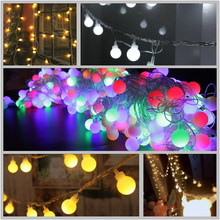 10m 100 Led Fairy Light Curtain Outdoor Christmas Lamp Globe String Ball With Tail Plug Eu For Home Bedroom Decoration