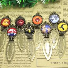 Game of Thrones Bookmark Westeros Map Stark Martell Targaryen Sigil Book Jewellery Glass Bookmark you pick(China)