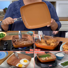 Non-stick Copper Square Pan with Ceramic Frying Red Pans Copper Oven & Dishwasher Chef Square Fry Pans Safe 10 Inches Skillet