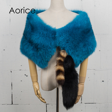 Aorice CK780 The new women's ponchos and capes winter 2017 Lady's pure color fox fur shawl(China)