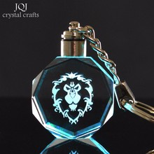 World of War Craft 3D Laser Engraved Crystal Crafts Changing Colors LED Light Glass Miniature Home Decor Birthday Gifts