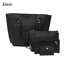 Xiniu 4Pcs/set Women handbag Fashion Litchi Pattern Leather Shoulder Bag+Crossbody Bag+Handbag+Wallet Casual Tote bolsa feminina(China)