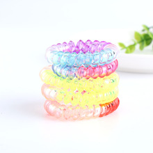 10PCS Women Girls Gradient Elastic Rubber Telephone Wire Hairbands Ponytail Holders Random Color