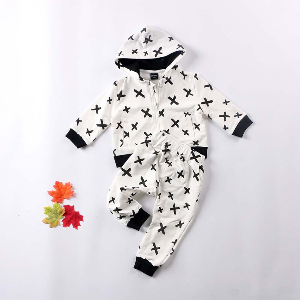 2017 Cross Print Baby Boys Girls Clothing Sets Kids Cotton Jacket+Pants Toddler Long Sleeve Outfits Children Clothes Sets YB156<br><br>Aliexpress
