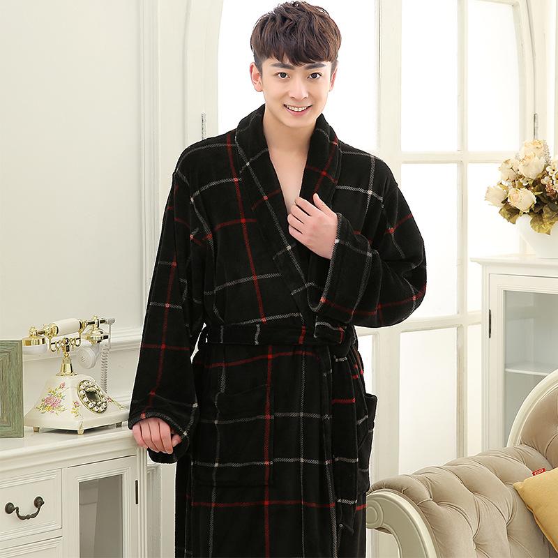 black red plaid robes men (1)