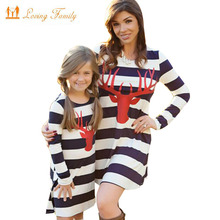 Mother daughter dresses 2017 Autumn Family Matching Outfits for Mother & Kids Children's Clothing Deer Striped patchwork dress