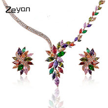 Zeyan Women Choker Necklace Stud Earrings Set Fashion Crystal Necklace Earring Jewelry Accessories Necklace Pendent Jewellery(China)