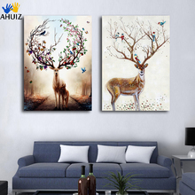 Cartoon animal plum deer Nordic style picture canvas painting drawing for living room bedroom home decoration wall poster FA316