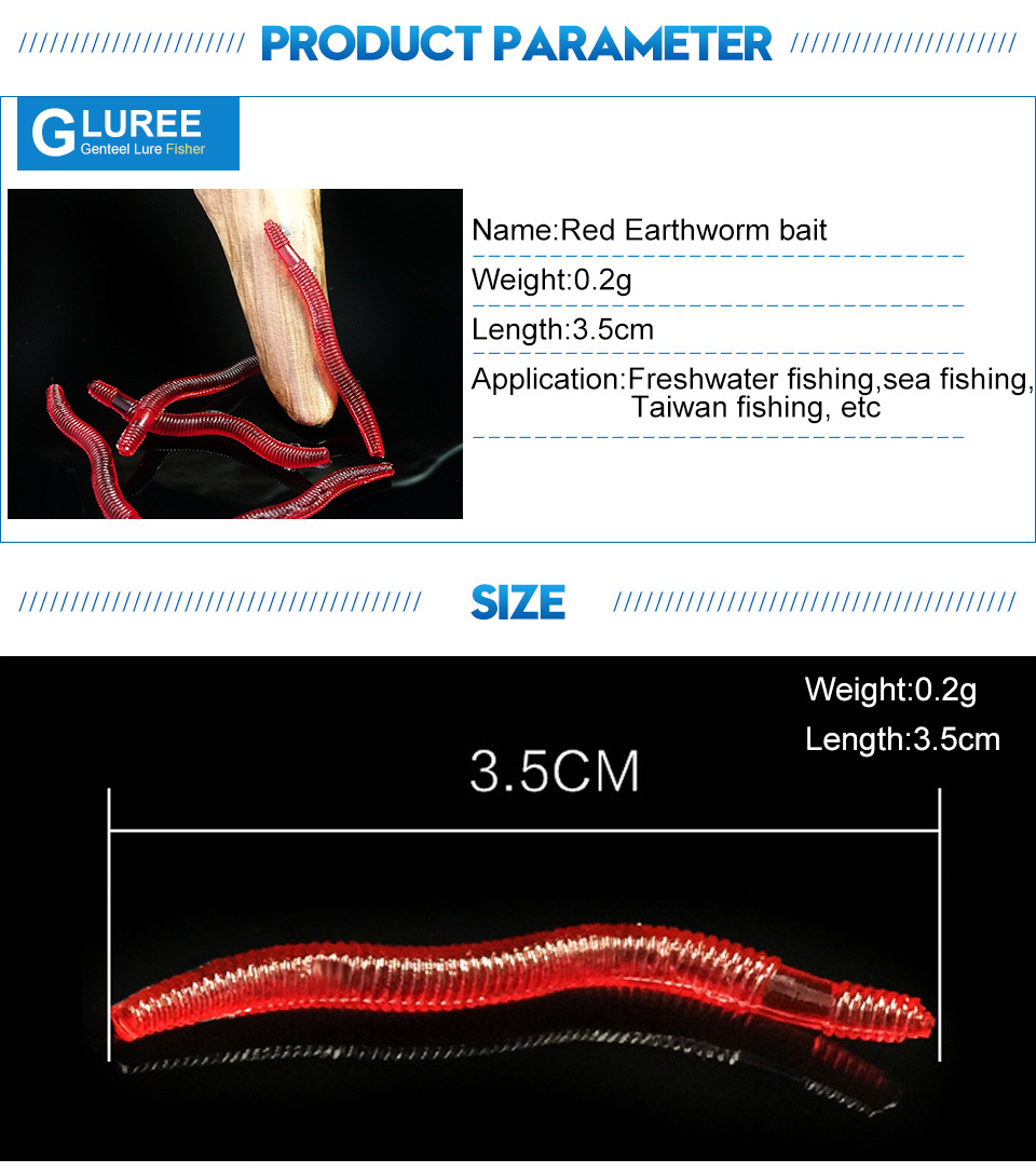 GLUREE-50Pcs-Lot-3.5cm-Red-Worms-EarthWorm-Soft-Fishing-Lures-Worm-Bait-Soft-Artificial-Baits-Lifelike-Carp-Fishing-Tackle_03