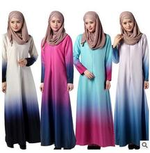 gradually changing color 2016 the latest new deisgn  abaya  traditional turkish dress abaya big hem kaftan A-line abaya