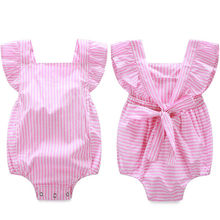 Newborn Infant Baby Girls Clothes Bodysuits Stripe Cotton Quality Bow Jumpsuit Outfit Sunsuit Bodysuit Baby Girl Child Kids Girl