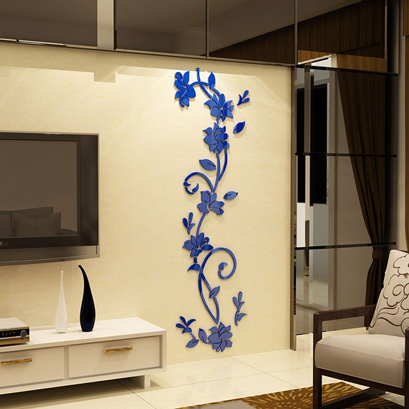 HTB1qokhaMfN8KJjSZFIq6A0UFXaD - Hoomall Acrylic Flower Wall Stickers Poster New Year Decorations Removable Stickers for Kitchen DIY Wall Stickers for Kids Rooms
