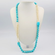 LiiJi Unique Fashion Necklace Turquoises 10mm &Freshwater Pearl Long Sweather Necklace 30''/76cm(China)