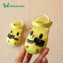 Claladoudou 11.5-13.5CM Sandals Baby Girl Yellow Cute Cartoon Soft Newborn Baby Sandals Infant Summer Flat Princess White Shoes