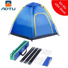 AOTU Blue Waterproof Hexagonal Large Camping Tent Outdoor Hiking Tourist Travel Tent Beach Park Awning Shelter For 3-4 Person(China)