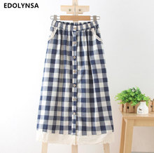 Fashion Plaid Long Skirt With Button Women Cotton Linen Lace Skirts Vintage Casual Women Pleated Maxi Skirts #G101