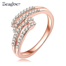 Beagloer Engagement Rings Rose Gold Color With Austrian Crystal SWA Element Small Ring Fashion Jewelry Ri-HQ0379-A