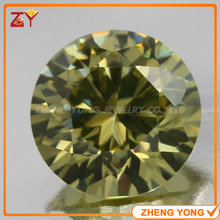 Round Shape Brilliant Cut 12mm Synthetic Gemstone Beads Peridot Yellow Loose Cubic Zirconia