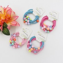 6Pcs Plastic Beads No Metal Parts Elastic Hair Bands Mini Rubber Band Hair Rope Ponytail Holder for Kids Girl Hair Accessories