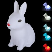 New Arrival PVC Material Children Kid Favor Gift Toy LED Night Light  Small Rabbit Lamp Color Changing