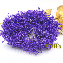 Free shipping 1mm 900pcs/Lot Double Heads Purple Color Flower Pearl Stamen Cake Decoration Craft DIY(China)