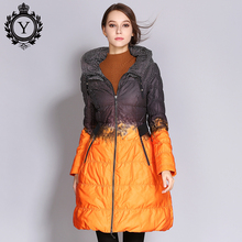 COUTUDI Wholesale Women Down Jacket Big Size Long Printed Parkas Winter Women's Quilted Coat Outwear Clothing Duck Down Jackets(China)