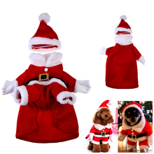 2016 new arrive Brand Classical 100%Cotton Christmas Suit Dog Clothes Pet Warm Pet Dog Teddy Jacket Coat with Hat(China)