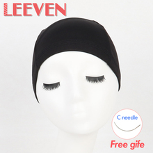 Leeven 5Pcs/Lot Black Color Fashionable Hair Nets For Wig Making Adjustable Wig Caps Black Color Mesh Hairnets Weaving Net Cap