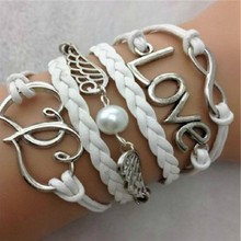 Jewelry silver plating of eight oneness/love/double heart wings wings more leather rope hand woven bracelet mixed batch(China)