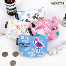 FOURETAW 1 Psc Cartoon Fashion Cute Animals Birds Flamingo Girls Fresh Style Earphone Data Line Jewelry Coins Candy Storage Bag