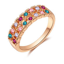 Authentic Czech Crystal Rose Gold Color Rings for Women Fashion Double Rows Engagement Promise Rings anel Multicolor(China)
