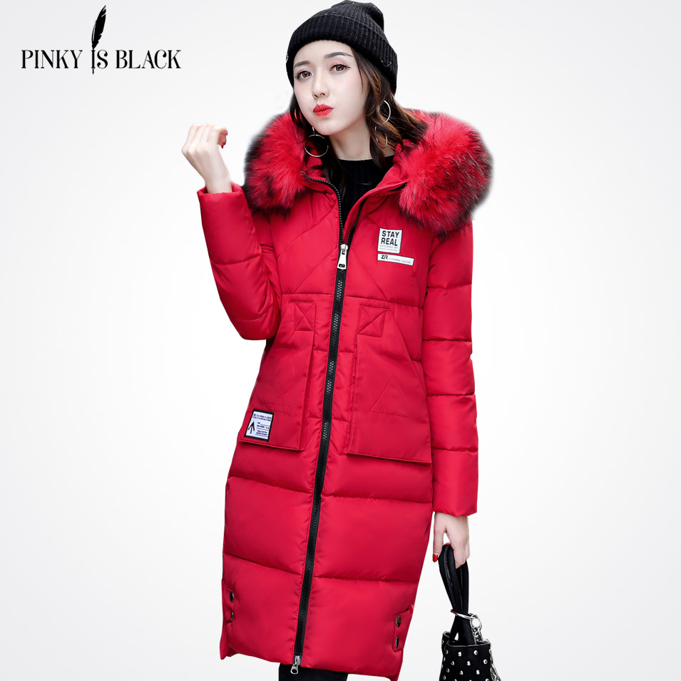 Pinky Is Black Winter jacket women 2017 new warm winter coat women long slim large fur collar woman winter coats and jacketsÎäåæäà è àêñåññóàðû<br><br>