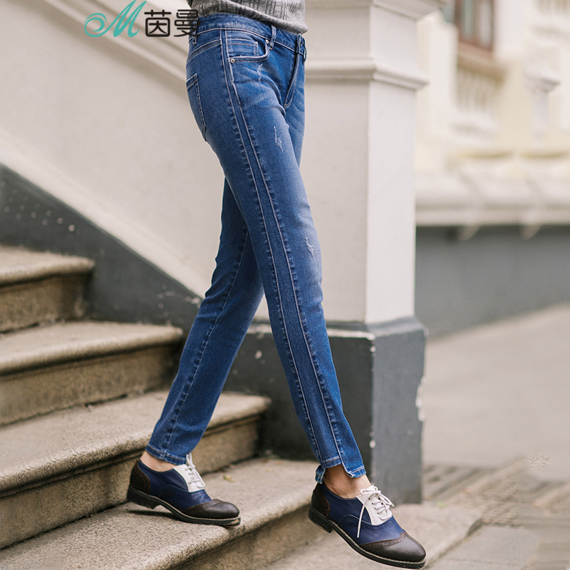 INMAN 2017 Autumn New Slim Denim Jeans Fashion Casual Style Bleached Pencil Pants Women Jeans Mid Waist Skinny TrousersÎäåæäà è àêñåññóàðû<br><br>