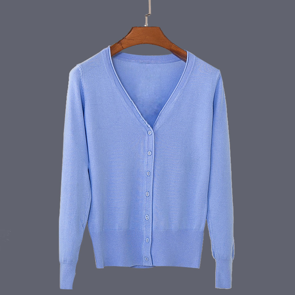 17 New Top Selling Spring Woman Sweater Tops Fashion Knitted Long Sleeve V-Neck Solid Loose Size Casual Woman Cardigan Sweater 27