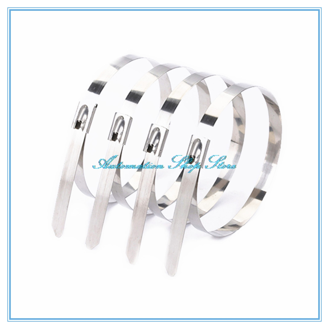 """10Pcs Stainless Steel Cable Zip Ties 12"""" Self Locking Straps Exhaust Wrap 7.9mm"""