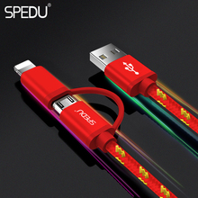 SPEDU 2in1 Charger Cable Mobile Phone Charger USB Cable For iPhone For Samsung Xiaomie Micro Usb Type C(China)
