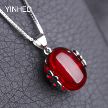Send Identify Certificate! YINHED Fashion Synthetic Rubis Necklaces&Pendants 925 Sterling Silver Statement Necklace Women ZN060(China)